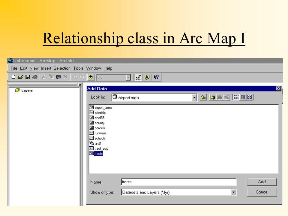Löschen von Relationship Classes Achtung: löschen geht nur, wenn im Hintergrund kein ArcMap läuft