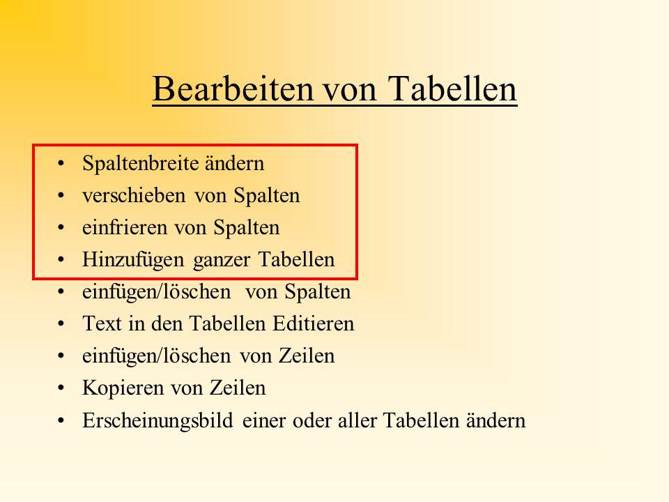 Bearbeiten von Tabellen Spaltenbreite ändern verschieben von Spalten einfrieren von Spalten Hinzufügen ganzer Tabellen einfügen/löschen von Spalten Text in den Tabellen Editieren einfügen/löschen von Zeilen Kopieren von Zeilen Erscheinungsbild einer oder aller Tabellen ändern