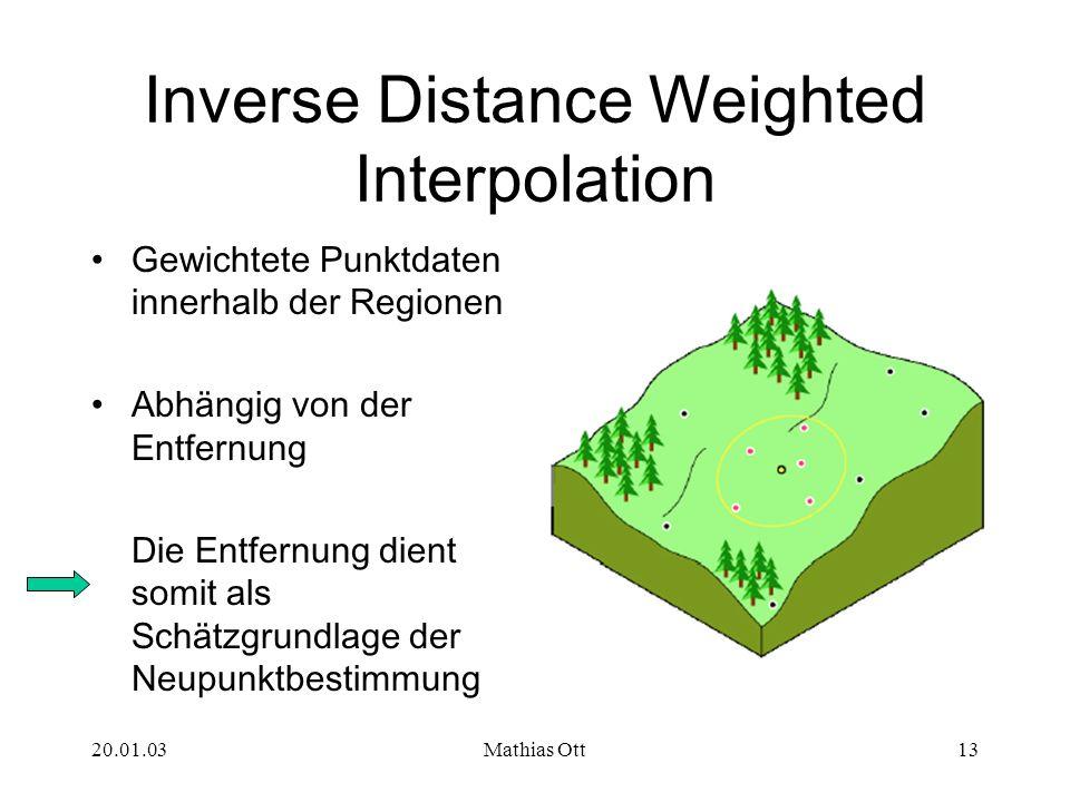 20.01.03Mathias Ott13 Inverse Distance Weighted Interpolation Gewichtete Punktdaten innerhalb der Regionen Abhängig von der Entfernung Die Entfernung