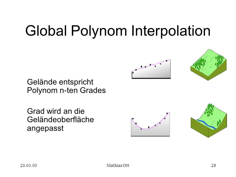 20.01.03Mathias Ott28 Global Polynom Interpolation Gelände entspricht Polynom n-ten Grades Grad wird an die Geländeoberfläche angepasst