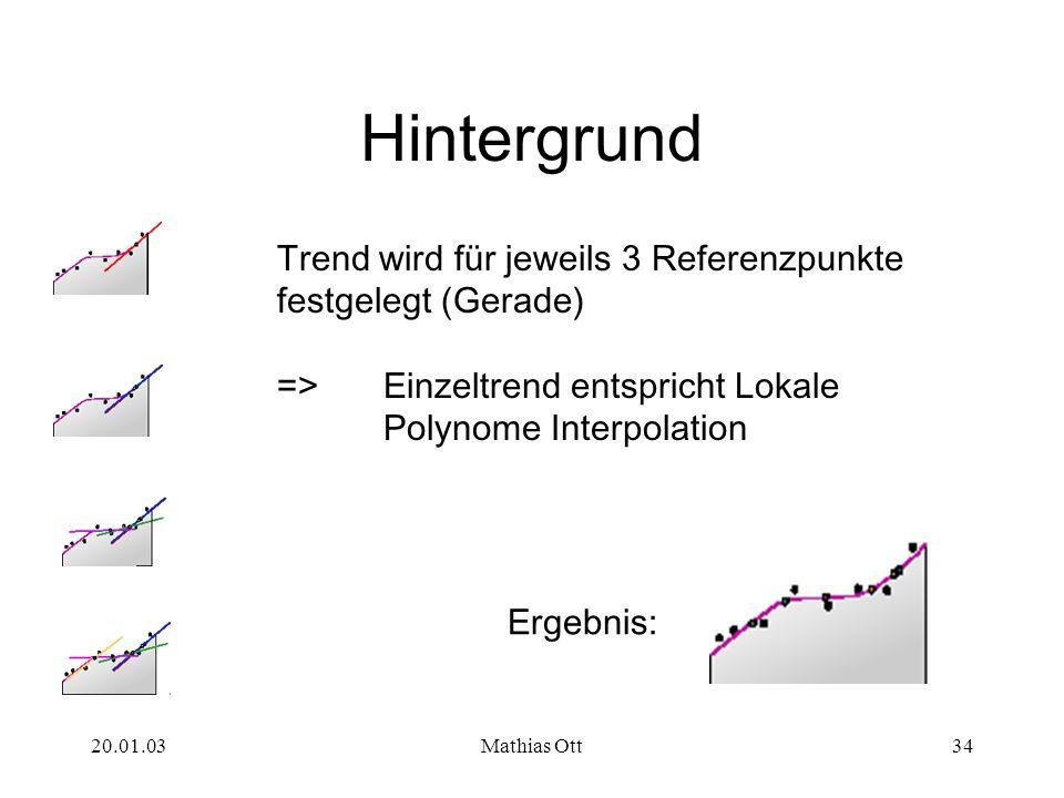 20.01.03Mathias Ott34 Hintergrund Trend wird für jeweils 3 Referenzpunkte festgelegt (Gerade) => Einzeltrend entspricht Lokale Polynome Interpolation