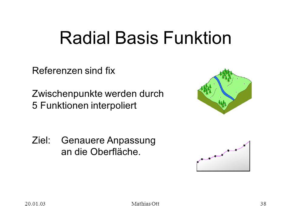 20.01.03Mathias Ott38 Radial Basis Funktion Referenzen sind fix Zwischenpunkte werden durch 5 Funktionen interpoliert Ziel: Genauere Anpassung an die