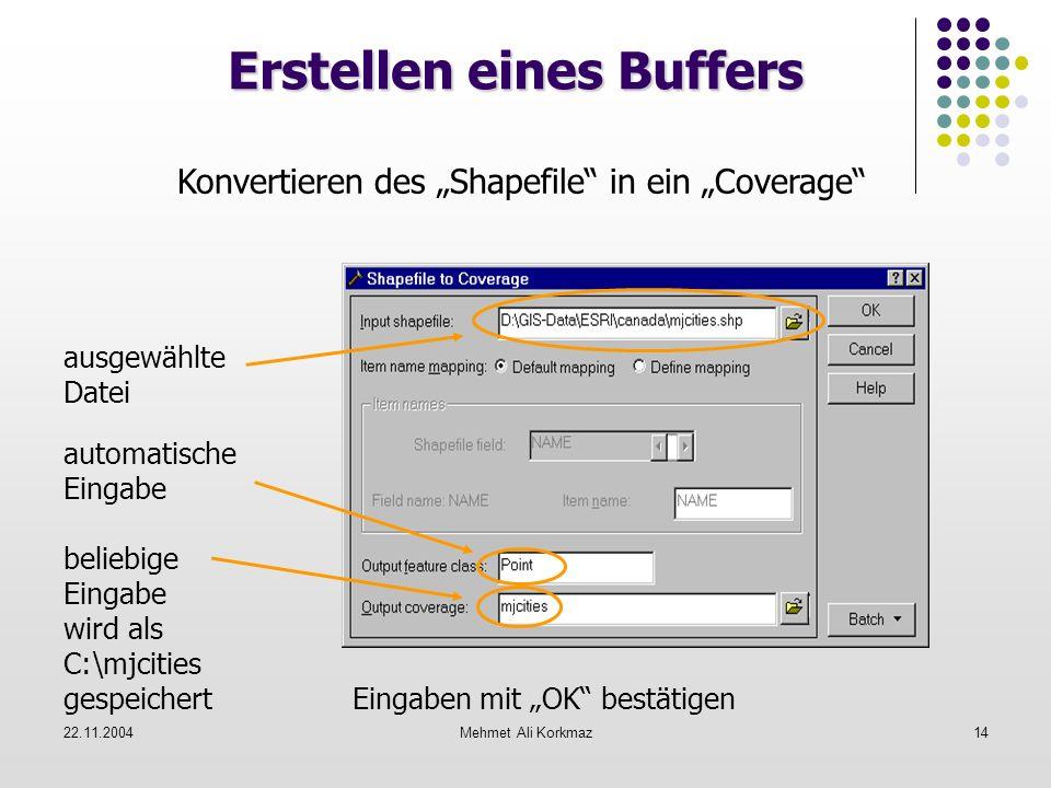 22.11.2004Mehmet Ali Korkmaz14 Erstellen eines Buffers Konvertieren des Shapefile in ein Coverage ausgewählte Datei automatische Eingabe beliebige Ein