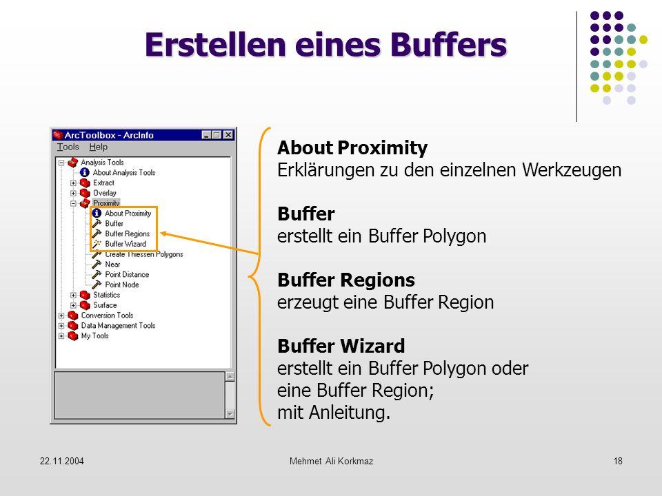22.11.2004Mehmet Ali Korkmaz18 Erstellen eines Buffers About Proximity Erklärungen zu den einzelnen Werkzeugen Buffer erstellt ein Buffer Polygon Buff