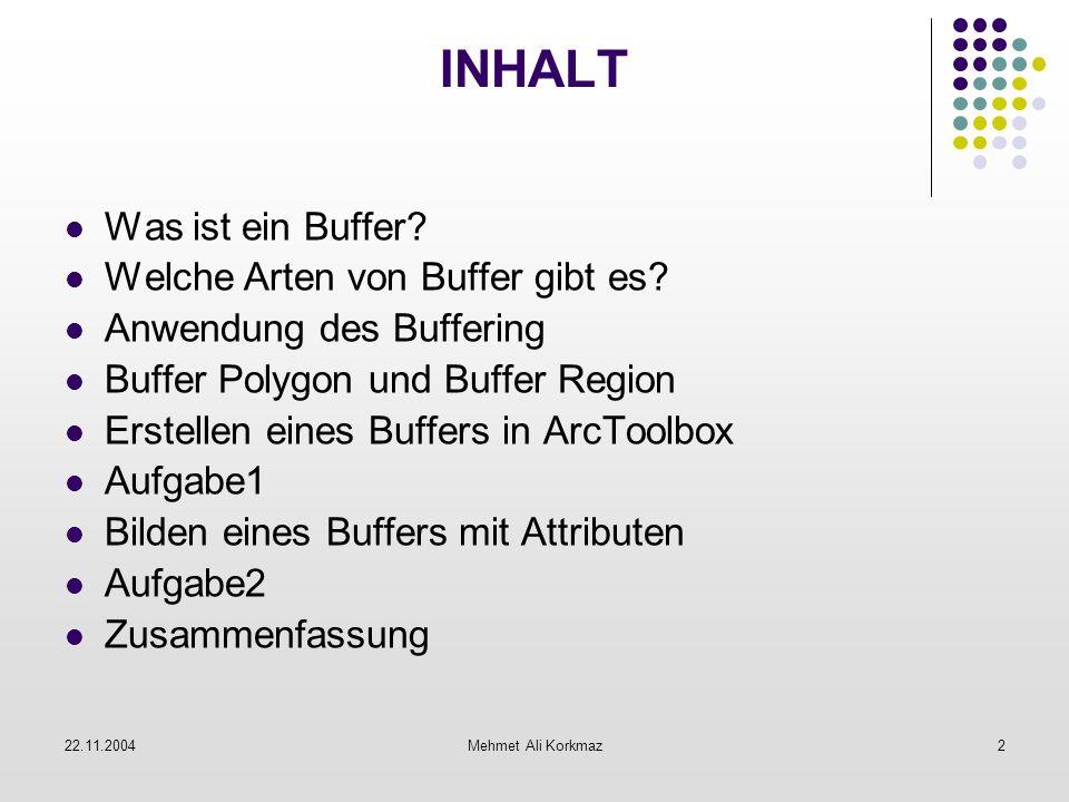 22.11.2004Mehmet Ali Korkmaz2 INHALT Was ist ein Buffer? Welche Arten von Buffer gibt es? Anwendung des Buffering Buffer Polygon und Buffer Region Ers
