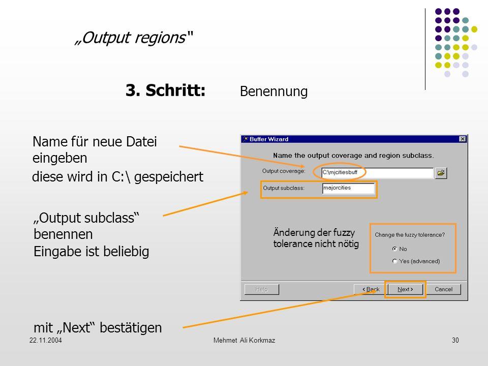 22.11.2004Mehmet Ali Korkmaz30 Output regions 3. Schritt: Benennung diese wird in C:\ gespeichert Name für neue Datei eingeben Output subclass benenne
