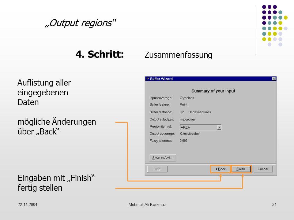 22.11.2004Mehmet Ali Korkmaz31 Output regions 4. Schritt: Zusammenfassung Auflistung aller eingegebenen Daten mögliche Änderungen über Back Eingaben m