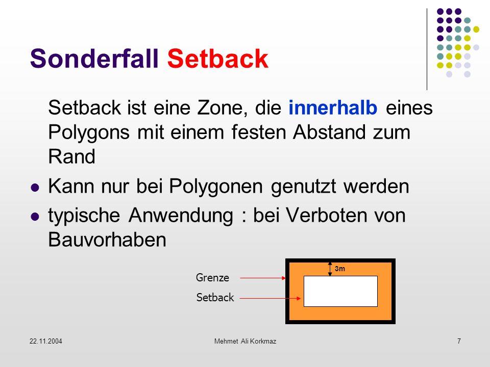 22.11.2004Mehmet Ali Korkmaz7 Sonderfall Setback Setback ist eine Zone, die innerhalb eines Polygons mit einem festen Abstand zum Rand Kann nur bei Po