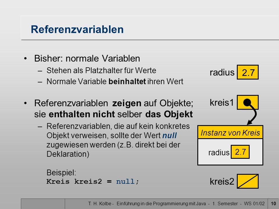 T. H. Kolbe - Einführung in die Programmierung mit Java - 1. Semester - WS 01/0210 Referenzvariablen Bisher: normale Variablen –Stehen als Platzhalter