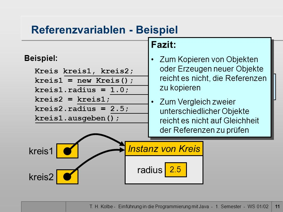 T. H. Kolbe - Einführung in die Programmierung mit Java - 1. Semester - WS 01/0211 Referenzvariablen - Beispiel Beispiel: Kreis kreis1, kreis2; kreis1