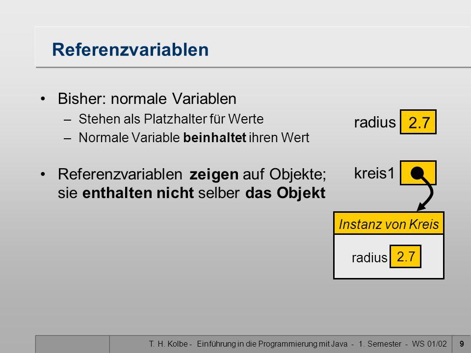 T. H. Kolbe - Einführung in die Programmierung mit Java - 1. Semester - WS 01/029 Referenzvariablen Bisher: normale Variablen –Stehen als Platzhalter