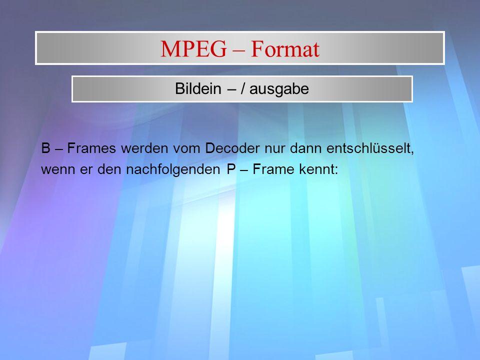 MPEG – Format B – Frames werden vom Decoder nur dann entschlüsselt, wenn er den nachfolgenden P – Frame kennt: Bildein – / ausgabe