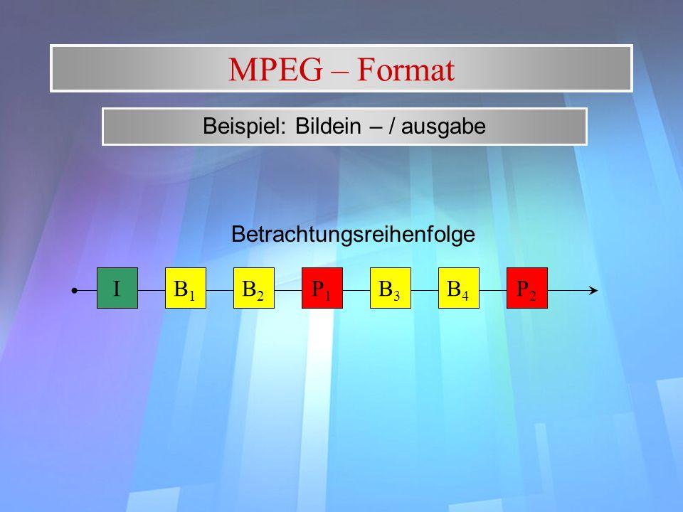 MPEG – Format Beispiel: Bildein – / ausgabe B1B1 IB2B2 P1P1 B3B3 B4B4 P2P2 Betrachtungsreihenfolge
