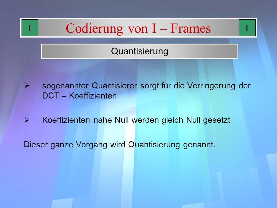 Codierung von I – Frames sogenannter Quantisierer sorgt für die Verringerung der DCT – Koeffizienten Koeffizienten nahe Null werden gleich Null gesetz
