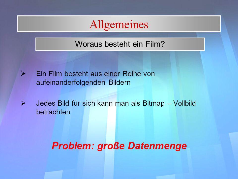 Allgemeines Ein Film besteht aus einer Reihe von aufeinanderfolgenden Bildern Jedes Bild für sich kann man als Bitmap – Vollbild betrachten Problem: g