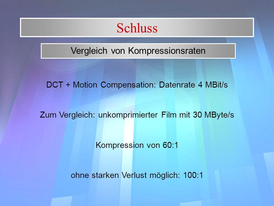 Schluss Vergleich von Kompressionsraten DCT + Motion Compensation: Datenrate 4 MBit/s Zum Vergleich: unkomprimierter Film mit 30 MByte/s Kompression v