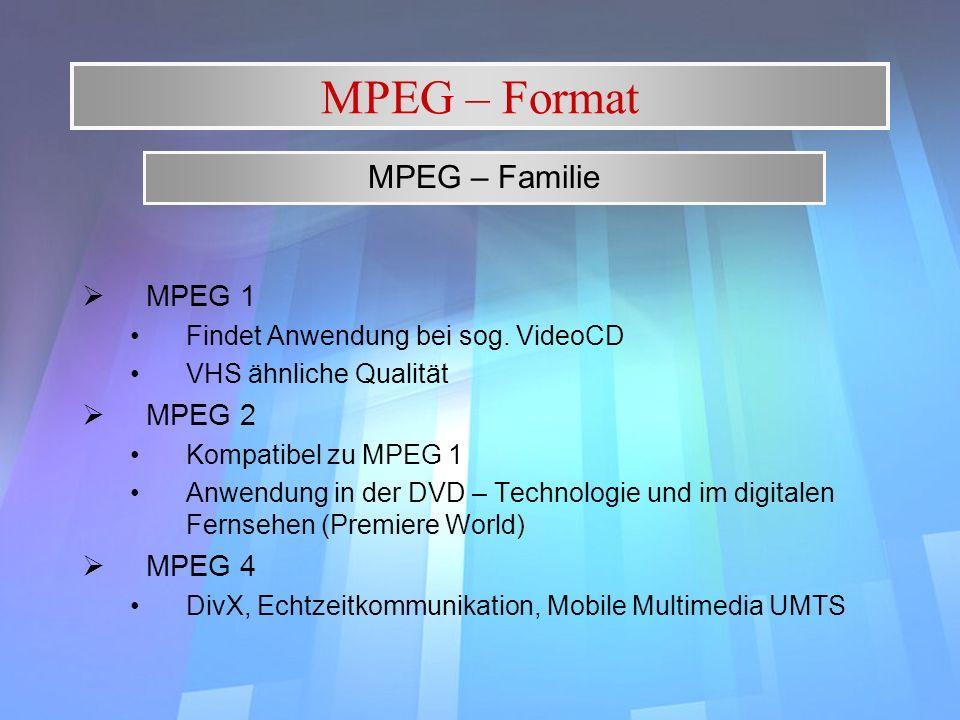 MPEG – Format MPEG 1 Findet Anwendung bei sog. VideoCD VHS ähnliche Qualität MPEG 2 Kompatibel zu MPEG 1 Anwendung in der DVD – Technologie und im dig