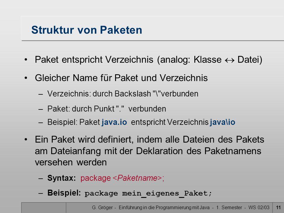 G. Gröger - Einführung in die Programmierung mit Java - 1. Semester - WS 02/0311 Struktur von Paketen Paket entspricht Verzeichnis (analog: Klasse Dat
