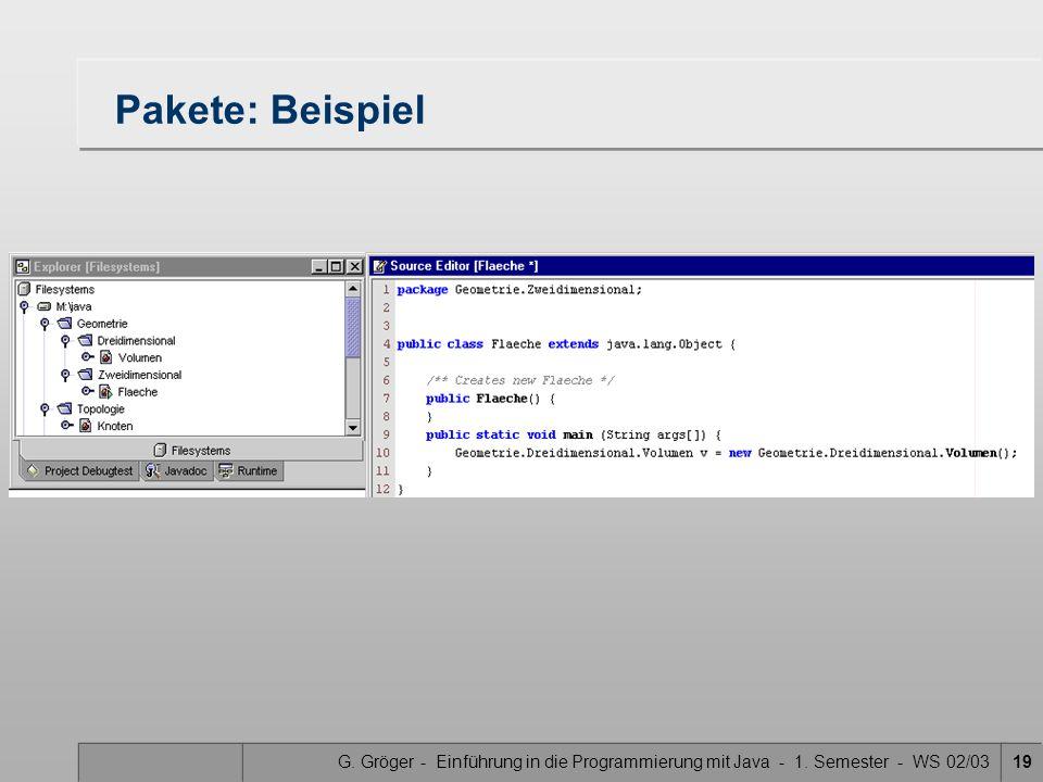 G. Gröger - Einführung in die Programmierung mit Java - 1. Semester - WS 02/0319 Pakete: Beispiel