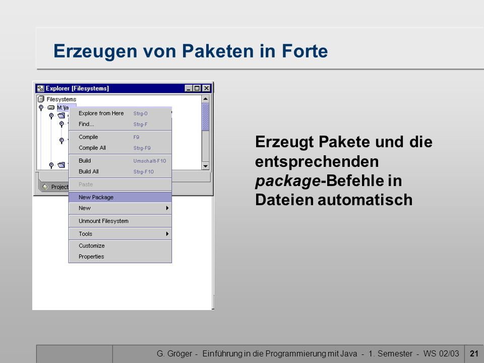G. Gröger - Einführung in die Programmierung mit Java - 1. Semester - WS 02/0321 Erzeugen von Paketen in Forte Erzeugt Pakete und die entsprechenden p