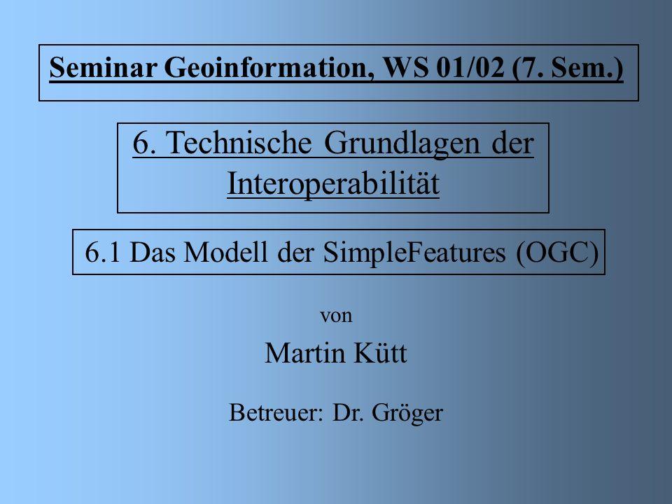6. Technische Grundlagen der Interoperabilität 6.1 Das Modell der SimpleFeatures (OGC) von Martin Kütt Seminar Geoinformation, WS 01/02 (7. Sem.) Betr
