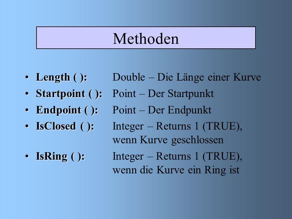 Methoden Length ( ):Length ( ): Double – Die Länge einer Kurve Startpoint ( ):Startpoint ( ): Point – Der Startpunkt Endpoint ( ):Endpoint ( ): Point – Der Endpunkt IsClosed ( ):IsClosed ( ): Integer – Returns 1 (TRUE), wenn Kurve geschlossen IsRing ( ):IsRing ( ): Integer – Returns 1 (TRUE), wenn die Kurve ein Ring ist