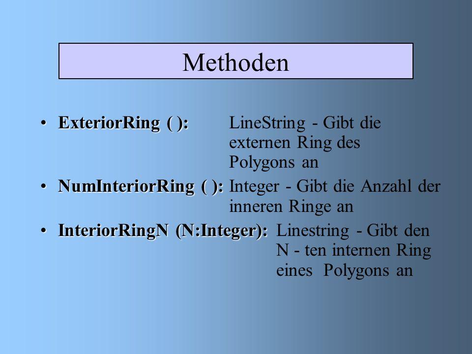 Methoden ExteriorRing ( ):ExteriorRing ( ): LineString - Gibt die externen Ring des Polygons an NumInteriorRing ( ):NumInteriorRing ( ): Integer - Gibt die Anzahl der inneren Ringe an InteriorRingN (N:Integer):InteriorRingN (N:Integer):Linestring - Gibt den N - ten internen Ring eines Polygons an