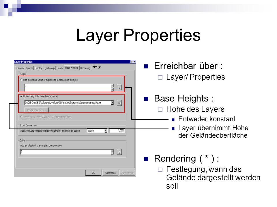 Layer Properties Erreichbar über : Layer/ Properties Base Heights : Höhe des Layers Entweder konstant Layer übernimmt Höhe der Geländeoberfläche Rendering ( * ) : Festlegung, wann das Gelände dargestellt werden soll *