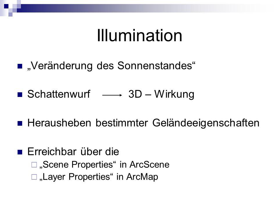 Illumination Veränderung des Sonnenstandes Schattenwurf3D – Wirkung Herausheben bestimmter Geländeeigenschaften Erreichbar über die Scene Properties in ArcScene Layer Properties in ArcMap