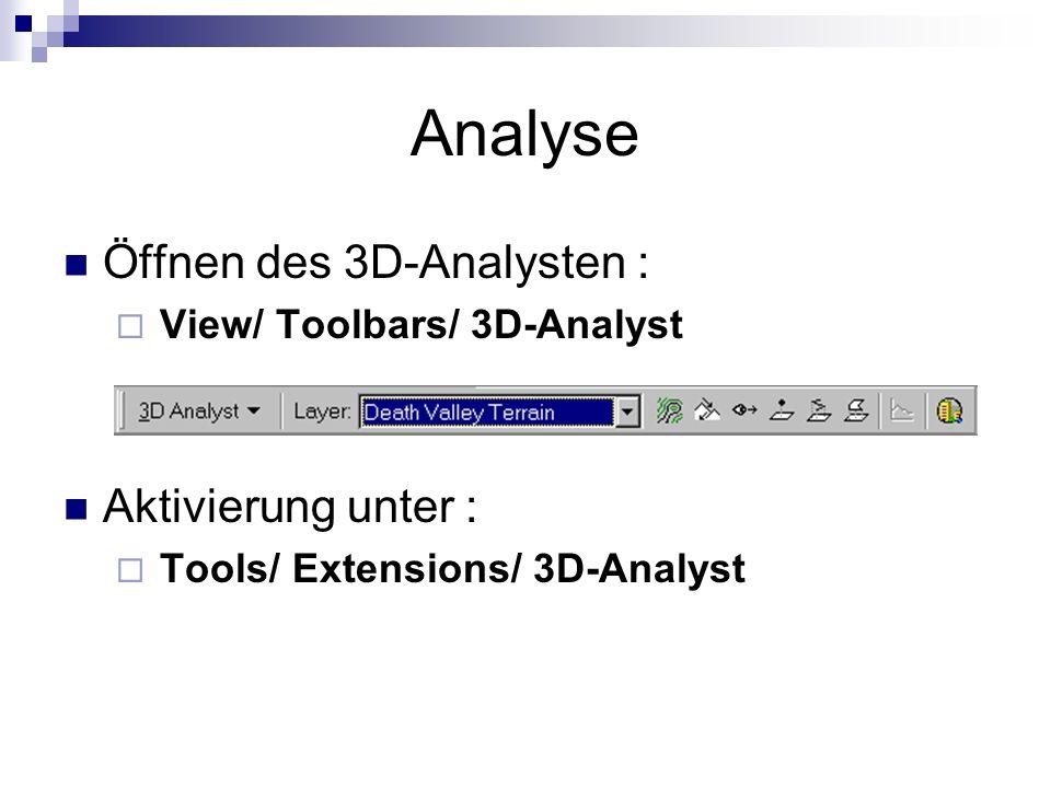 Analyse Öffnen des 3D-Analysten : View/ Toolbars/ 3D-Analyst Aktivierung unter : Tools/ Extensions/ 3D-Analyst