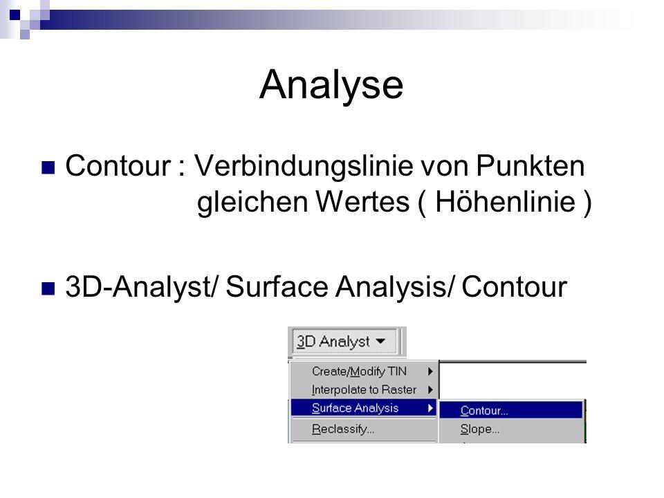Analyse Contour : Verbindungslinie von Punkten gleichen Wertes ( Höhenlinie ) 3D-Analyst/ Surface Analysis/ Contour