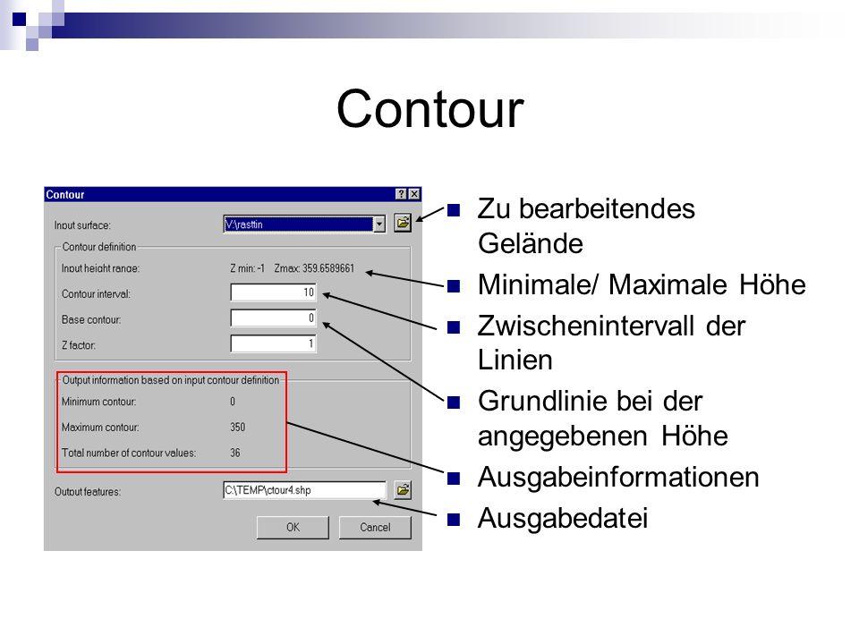 Contour Zu bearbeitendes Gelände Minimale/ Maximale Höhe Zwischenintervall der Linien Grundlinie bei der angegebenen Höhe Ausgabeinformationen Ausgabedatei
