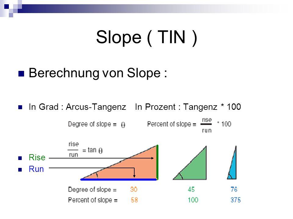 Slope ( TIN ) Berechnung von Slope : In Grad : Arcus-TangenzIn Prozent : Tangenz * 100 Rise Run
