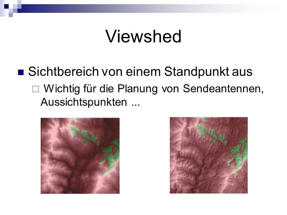Viewshed Sichtbereich von einem Standpunkt aus Wichtig für die Planung von Sendeantennen, Aussichtspunkten...