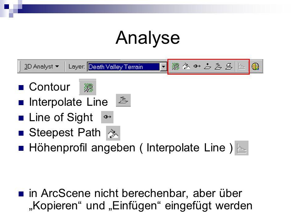 Analyse Contour Interpolate Line Line of Sight Steepest Path Höhenprofil angeben ( Interpolate Line ) in ArcScene nicht berechenbar, aber über Kopieren und Einfügen eingefügt werden