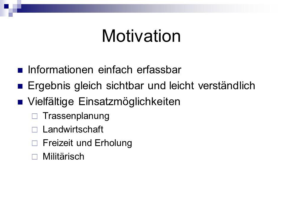 Motivation Informationen einfach erfassbar Ergebnis gleich sichtbar und leicht verständlich Vielfältige Einsatzmöglichkeiten Trassenplanung Landwirtschaft Freizeit und Erholung Militärisch