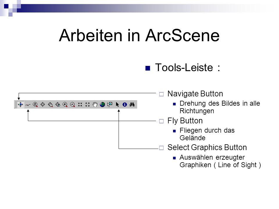 Arbeiten in ArcScene Tools-Leiste : Navigate Button Drehung des Bildes in alle Richtungen Fly Button Fliegen durch das Gelände Select Graphics Button Auswählen erzeugter Graphiken ( Line of Sight )