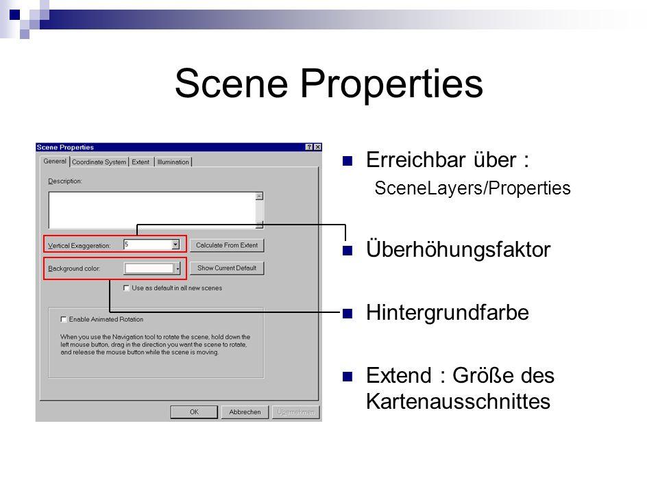 Scene Properties Erreichbar über : SceneLayers/Properties Überhöhungsfaktor Hintergrundfarbe Extend : Größe des Kartenausschnittes