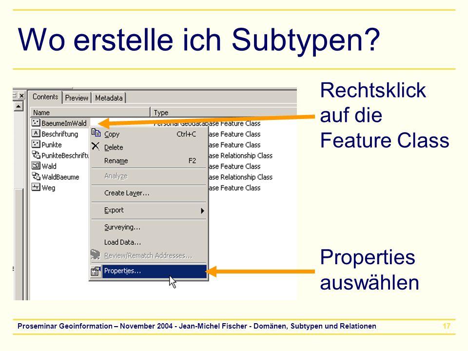 Proseminar Geoinformation – November 2004 - Jean-Michel Fischer - Domänen, Subtypen und Relationen17 Wo erstelle ich Subtypen? Rechtsklick auf die Fea