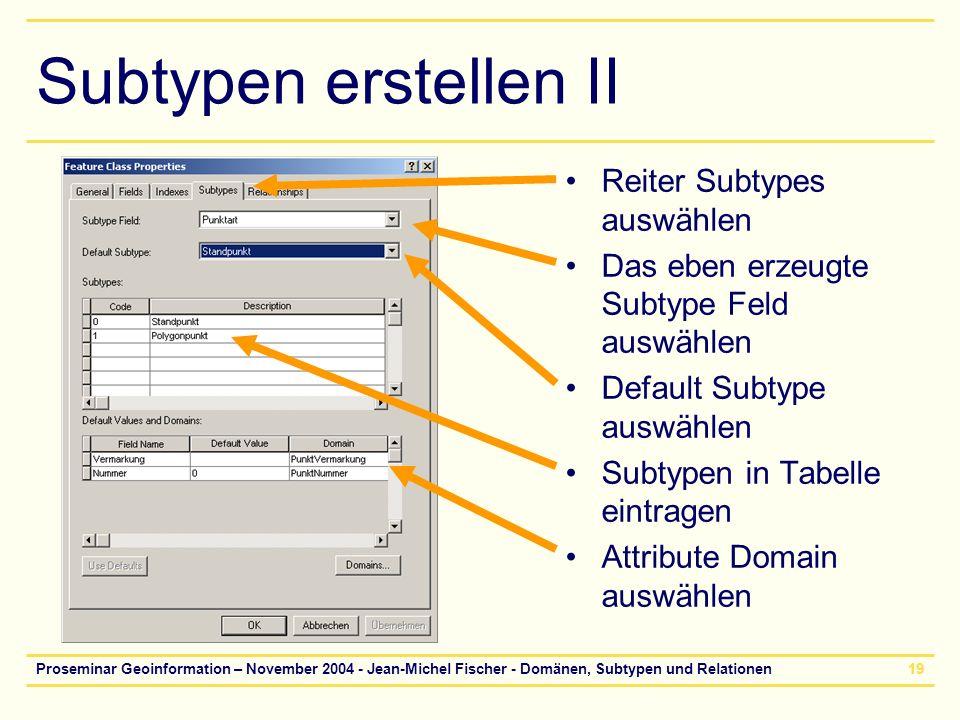 Proseminar Geoinformation – November 2004 - Jean-Michel Fischer - Domänen, Subtypen und Relationen19 Subtypen erstellen II Reiter Subtypes auswählen D