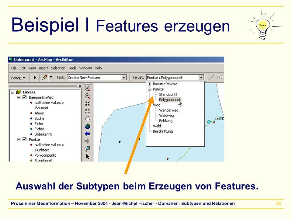 Proseminar Geoinformation – November 2004 - Jean-Michel Fischer - Domänen, Subtypen und Relationen20 Beispiel I Features erzeugen Auswahl der Subtypen
