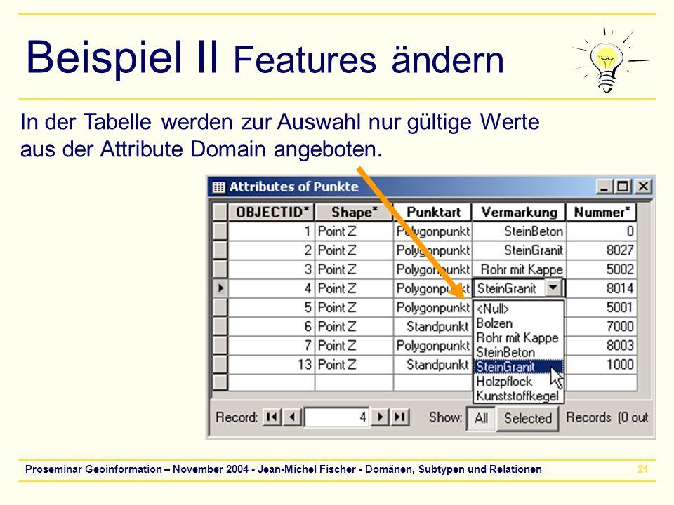Proseminar Geoinformation – November 2004 - Jean-Michel Fischer - Domänen, Subtypen und Relationen21 Beispiel II Features ändern In der Tabelle werden