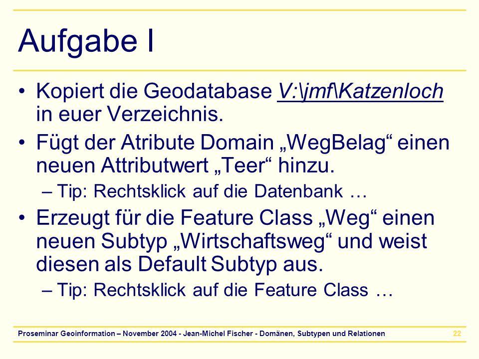 Proseminar Geoinformation – November 2004 - Jean-Michel Fischer - Domänen, Subtypen und Relationen22 Aufgabe I Kopiert die Geodatabase V:\jmf\Katzenlo