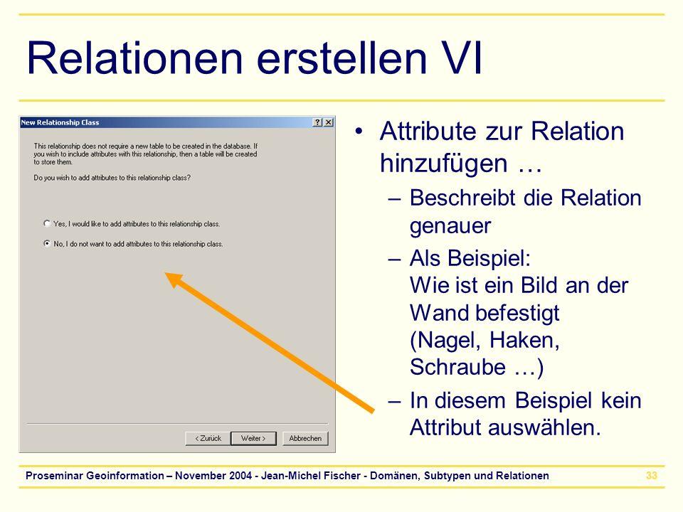 Proseminar Geoinformation – November 2004 - Jean-Michel Fischer - Domänen, Subtypen und Relationen33 Relationen erstellen VI Attribute zur Relation hi