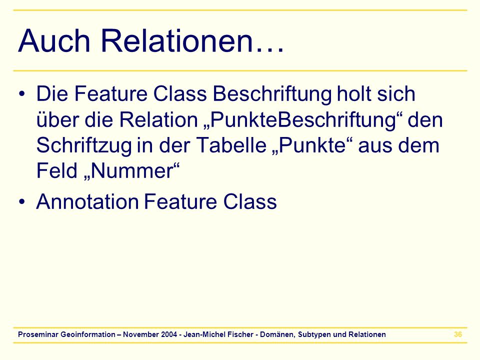 Proseminar Geoinformation – November 2004 - Jean-Michel Fischer - Domänen, Subtypen und Relationen36 Auch Relationen… Die Feature Class Beschriftung h