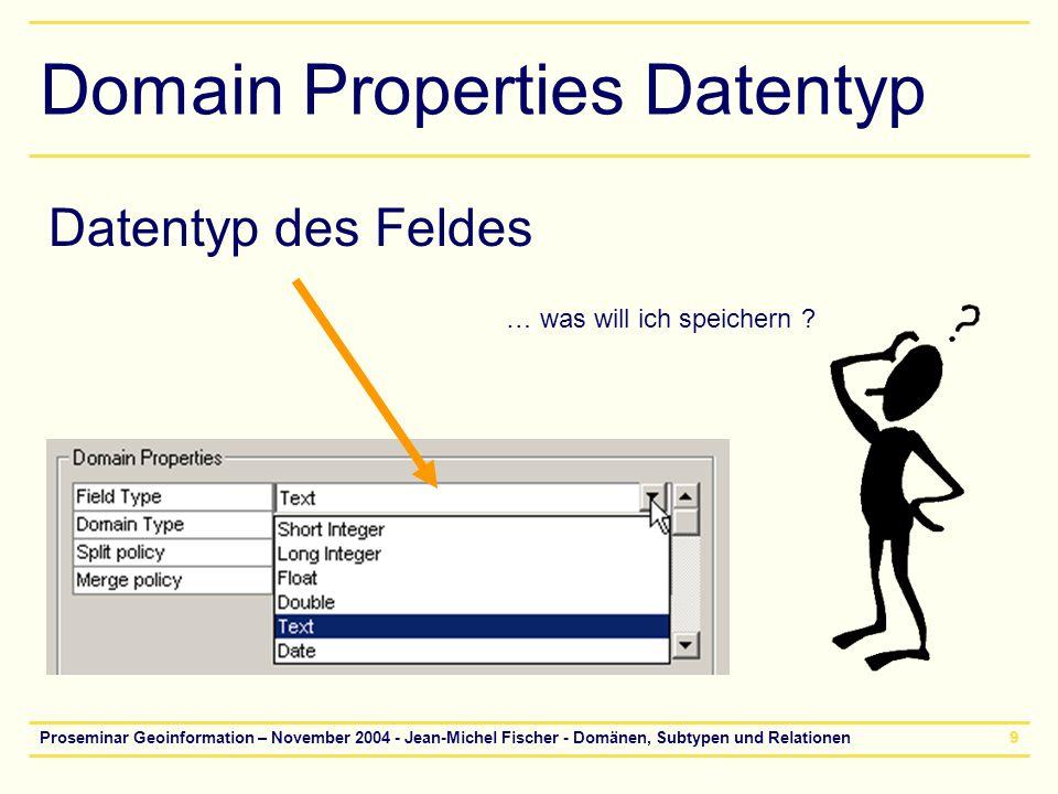 Proseminar Geoinformation – November 2004 - Jean-Michel Fischer - Domänen, Subtypen und Relationen10 Coded Values - Range Coded Values: –Fest definierte Werte –z.B.