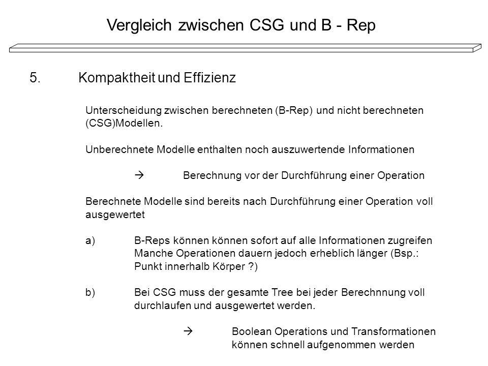 5.Kompaktheit und Effizienz Unterscheidung zwischen berechneten (B-Rep) und nicht berechneten (CSG)Modellen. Unberechnete Modelle enthalten noch auszu