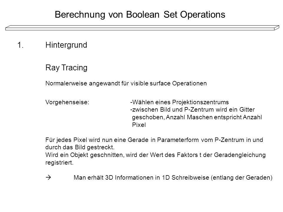 Berechnung von Boolean Set Operations 1.Hintergrund Ray Tracing Normalerweise angewandt für visible surface Operationen Vorgehenseise:-Wählen eines Pr