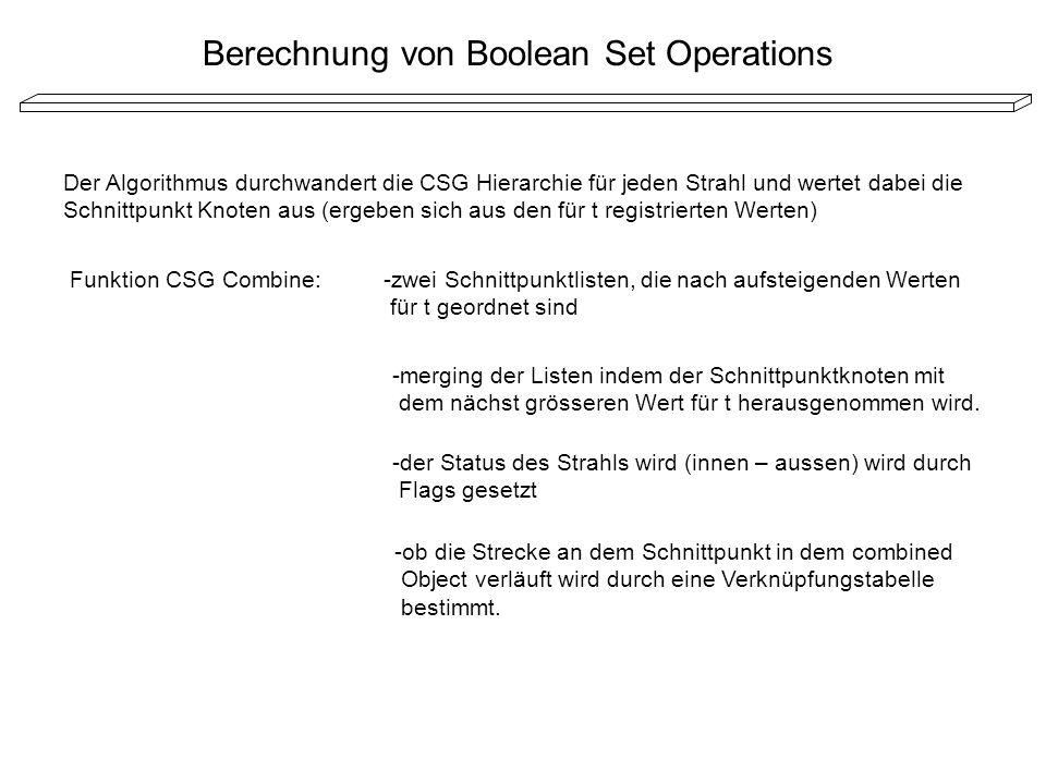 Berechnung von Boolean Set Operations Der Algorithmus durchwandert die CSG Hierarchie für jeden Strahl und wertet dabei die Schnittpunkt Knoten aus (e