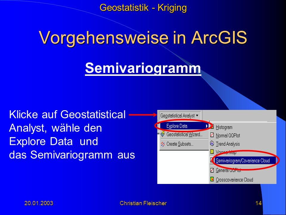 Geostatistik - Kriging 20.01.2003Christian Fleischer14 Vorgehensweise in ArcGIS Semivariogramm Klicke auf Geostatistical Analyst, wähle den Explore Da